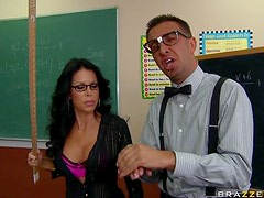 Big Breasted Brunette Teacher on Glasses Tabitha Stevens Having Sex