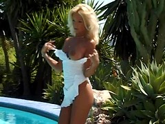 Sexy Blonde Has Interracial Sex Outdoors By The Pool