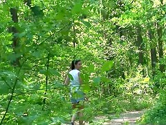 Teenager pees in the woods