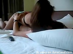 Horny Brunette Rides Her Boyfriend After He's Done Watching TV