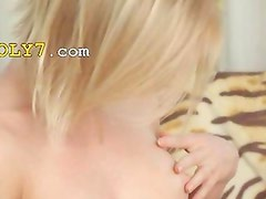 Blonde schoolgirl stripping and rubbing