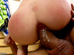 Big cock wrecks her tight ass
