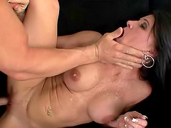 Nude and busty pornstar Kendra Secrets likes doggy style pose