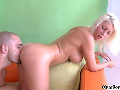 Nasty Pamela Blond with big Twins sucks and fucks a fat Cock