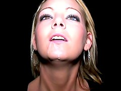 Wondrous blonde Krystal Pink is doing hot blowjob in the dark place