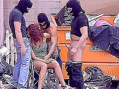 Sexy Redhead Gets Gangbanged By Thee Robbers