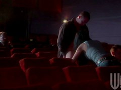 Slutty Brunette Alektra Blue Gives a Blowjob In a Cinema