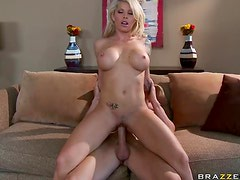Blonde Milf Gets Rammed to the Couch by a Big Cock