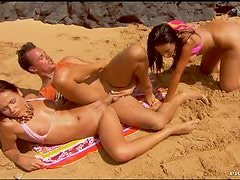 Hot Threesome In The Beach With Cum Swapping Babes Simonne and Sonia
