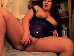 Lovely girl in corset solo toy sex