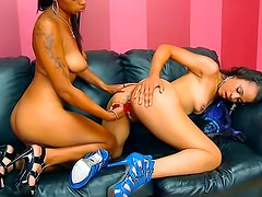 Dildo fucking black chicks in heels