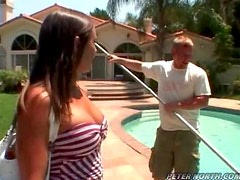 Dirty MILF Babe Fucks The Pool Guy in a Hardcore Scene