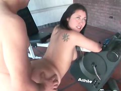 Chubby guy fucks hot chick from behind