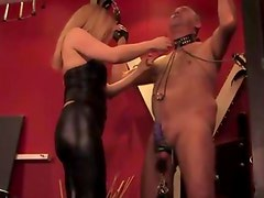Dominatrix getting rough with cbt for her pathetic subject