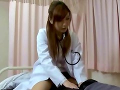Horny asian nurse gives hot handjob