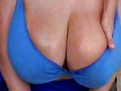 Big breast Milf in bikini spreading outside