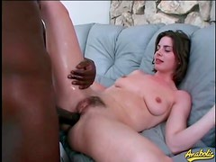 Flexible hairy girl takes huge cock in ass