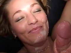 Attractive blonde vixen gives a passionate blowjob