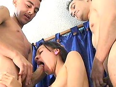 Latina teen takes on two cocks