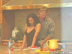 Busty brunette Ilana gets banged in the kitchen
