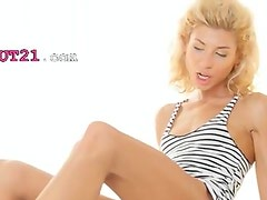 Amazing blond Stephanie banged by lover