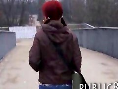 Amateur redhead public blowjob and anal fuck while people are walking by