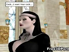Sexy 3D cartoon nun sucks cock and gets fucked hard