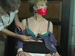 Mature in granny panties tied up