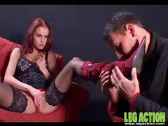 Foreplay with a hot redhead in black stockings