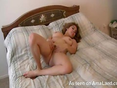 Busty Girlfriend Masturbating in Bed