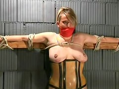 BDSM sub abused in dungeon