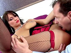 Glam slut in fishnets fucked lustily