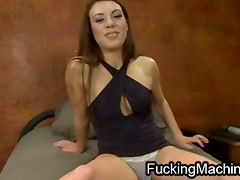 Wet ass brunette machine fucked very fast in her pussy and ass