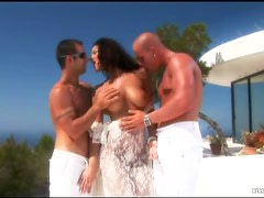 Busty Brunette Angel Dark Gets An Outdoors Threesome In the Terrace