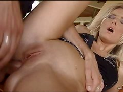 Bonerific Blonde MILF Gets Anal Fucked and Swallows Thick Cum Outdoors