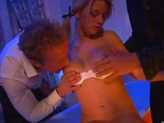 Slutty Blonde Teen Chloe Delaure Goes Oral On 3 Cocks and Gets Fucked