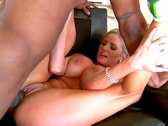 Big Breasted Blonde Deepthroats a Big Black Cock