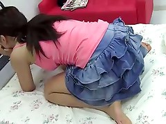 Japanese teen palying