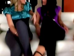Three attractive CFNM matures play with cock
