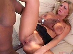 Avy Scott sucks Mandingo's black monstercock and takes it in her ass