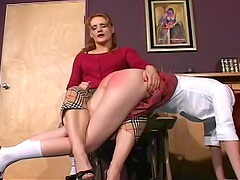 Schoolgirl asses spanked hard to turn red