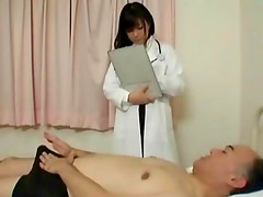 Horny patient sucks asian nurse nipples