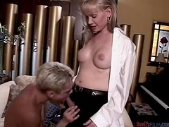 Blonde shemale and a guy fuck each other in their asses