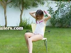 Ivana teenager getting wet on the grass