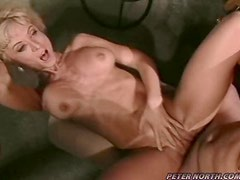 Busty blonde milf Nina Hartley teaches some guy how to make love