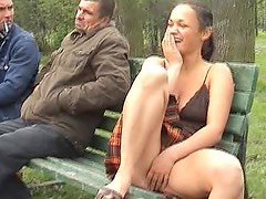 Teasing guys in the woods