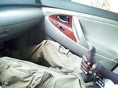 Huge Black Dick Jacking In Car