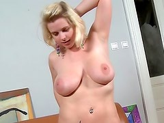 Adorable chick Sofia with natural big tits is having casting indoors