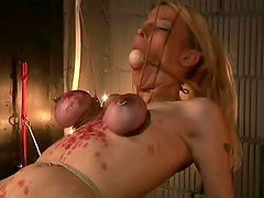 Major tit torture for cute blonde