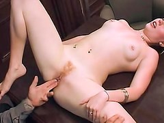Adorable blonde fucked by older man